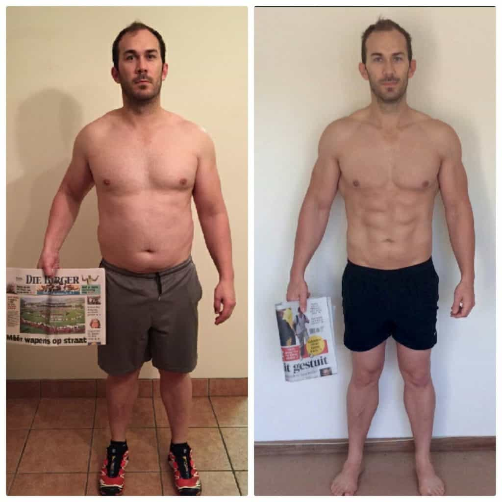 USN 12 Week Makeover Challenge Winner, Riaan Smit before and after